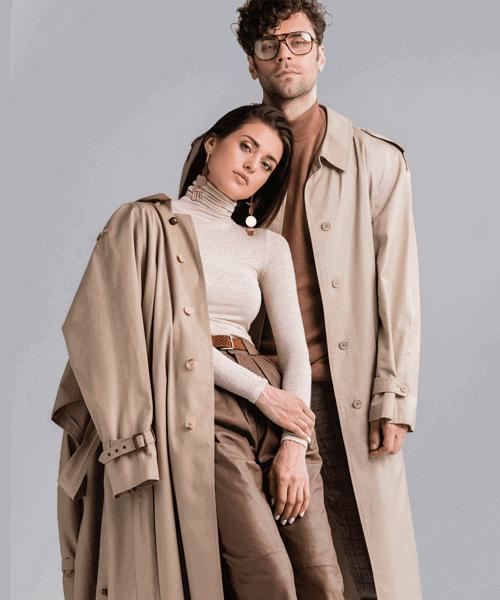 Fashionable man and woman