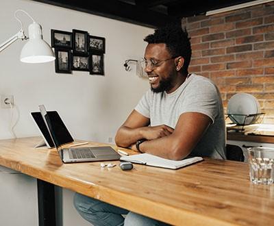 Man watching laptop